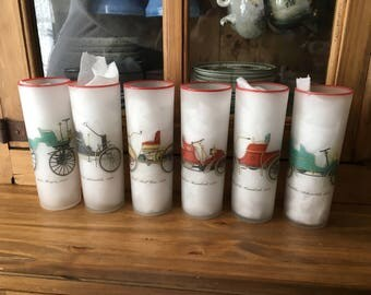 1950s MCM Libbey Antique Cars Frosted Glasses (set of 6)