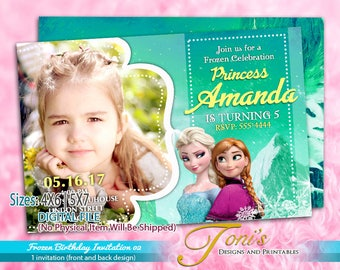 Frozen Photo Invite Etsy - Birthday invitation frozen theme