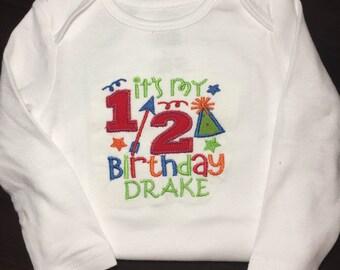 1/2 birthday onesie appliqué. 6 mo birthday boy girl