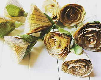 Paper Flowers Vintage PAPER FLOWERS, rustic origami paper, origami roses, book pages