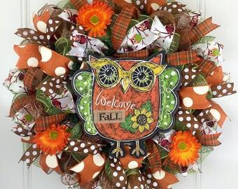 Fall wreath, owl deco mesh wreath, fall deco mesh wreath, beautiful fall wreath, Owl fall wreath