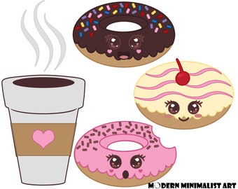 Cute Donut Clipart Pink and Brown – 5 PNG Images