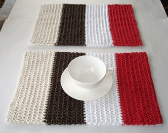 Crocheted Placemats, Rectangle Placemats, Cream, Brown, White, Red Placemats, Handmade Placemats, Cotton Placemats, Set of Two