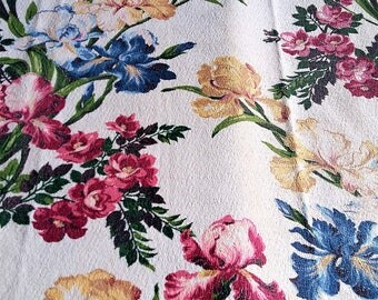 40s 50's Textile Barkcloth Fabric Iris Floral C 1945 Saison Happily Married Gorgeous Pattern Blues Golds Greens Pinks on Cream