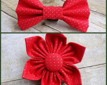 Red and Gold Pin Dot Dog Collar Flower/Dog Bow Tie/Christmas Dog Bow Tie/Christmas Dog Flower