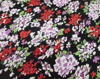 Black/Red Ditsy Bunched Floral 100% Viscose Summer Printed Dress Fabric