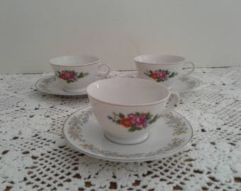 3 Japanese Tea Cups, mismatched