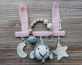 """Gift set 2 pieces pink """"flock star Moon"""" with/without name, crochet"""