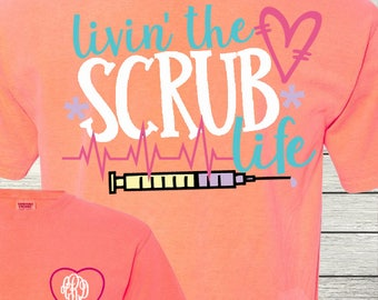 Monogrammed Nurse Nurses Personalized Customized Nursing RN LPN Scrub Life