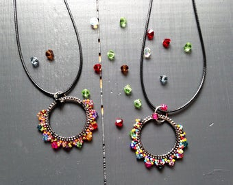 Multicolor round pendant / Miyuki glass and Swarovski Crystal