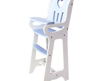 Wooden Doll Highchair (Chair Handmade) - Blue