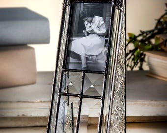 Vintage Glass Picture Frame Gift for Baby Baptism Christening First Communion Holds 2x3 School Photo Pic 360-23