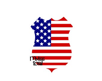 Police Badge American Flag  SVG Cut file  Cricut explore file 4th of July t-shirt designscrapbook vinyl decal wood sign t shirt cricut cameo