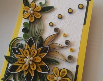 Quilling card, Greeting quilled card, Birthday card, Mother day card, Handmade quilled card, Paper card, Quilled flowers