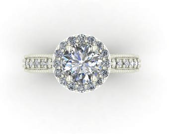 Moissanite Forever One  Round Brilliant Cut With Diamonds Engagement Wedding Anniversary 1.50ctw. Ring In 14k White Gold #5046