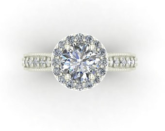 Moissanite Forever One 1.10 carat Round Brilliant Cut with Diamonds  Engagement Ring in 14k White Gold #5046