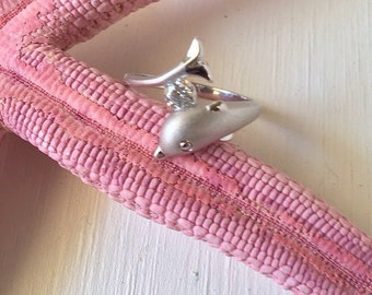 Vintage Sterling Silver 925 Laser Cut Dolphin with CZ Ring