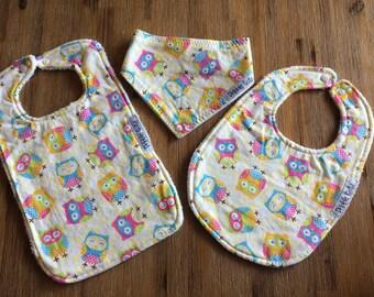Yellow Owls,Gift Set, Toddler, Dribble Bib Set