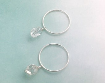 Sterling silver Quartz crystal hoop earrings