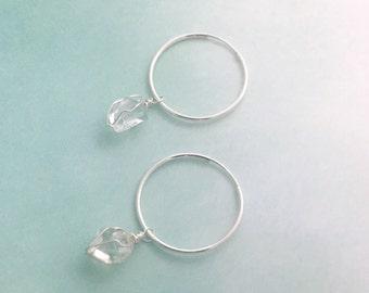 Sterling silver Quartz crystal hoop earrings