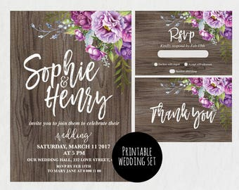Rustic wedding invitation, Flower Wedding Invitation, purple wedding invitation, RSVP, thank you, rustic wedding invitation, flower wedding