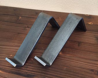 Sale! Shelf Brackets, 2PC Set, Handmade, Metal, Edged,Metal, Corbel, Lip, Metal Shelf Bracket