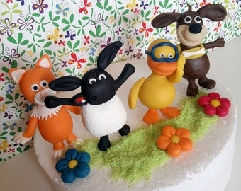 Edible fondant or Marzipan 3d figures Timmy time Shaun the sheep Dog Duck Cat First birthday Baby shower Party decorations Cake topper gift