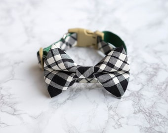 Bow Tie Collar | Checkered Black | Dog & Cat