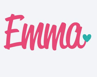 name with heart decal- Personalized Name Decal- Name Decal - YETI Name decal- Personalized Decal- Heart decal- Name sticker -Glitter sticker