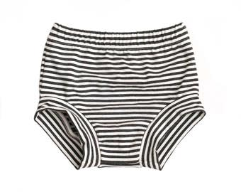 baby shorts, baby bloomers, charcoal stripe shorties, bamboo shorties,  hipster baby shorts,
