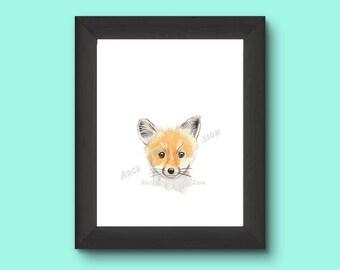 Printable Watercolor Fox