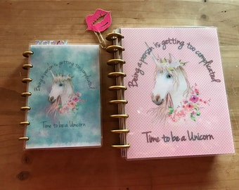 Unicorn happy planner covers. Mini and regular happy planner. Pocket, personal, A5 dashboard. Planner accessories. Planner supplies. Inserts