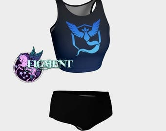 Pokemon Go: Team Mystic Bikini - blue, cosplay, costume, swimsuit, tankini, crop, comic con, rave, festival, hooping, beach, vacation, geeky