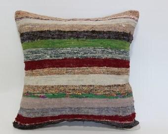 20x20 Bohemian Kilim Pillow Throw Pillow 20x20 Cotton Washable Kilim Pillow Handwoven Kilim Pillow Naturel Pillow Cushion Cover SP5050-1379