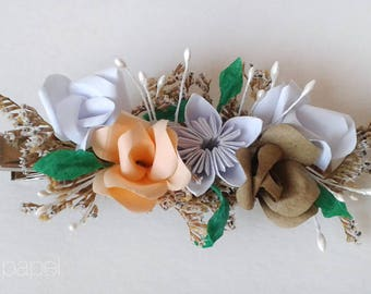 Hairpin headdress with paper flowers first Communion