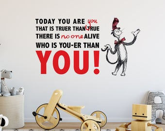 You Are You | Dr Seuss Books Quote Reading Nursery Kids Children's Bedroom Nursery | Removable Vinyl Wall Sticker