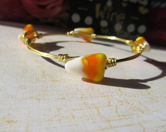 Small Glass Candy Corn Beads Gold Wire Wrapped Bangle Bracelet