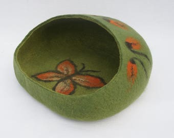 Pet bed Cat cave Cat bed Green cat bed Cat furniture Felted cat bed Cat nap cocoon Cat felted cave Cat house Katzenhöhle Katzenmöbel
