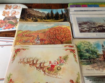 Retro Lot of 21 Plastic Coated Placemats Eclectic (Currier & Ives, Holiday, Seasons, etc.) Mid Century MidCentury Table Setting Decor Kitsch