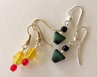 Teeny Tiny Fall Glass Bead Dangle Earrings Set