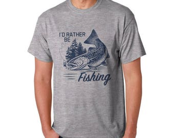 I'd rather be fishing Mens T-shirt - Fishermen, fishing, sport fishing, Angler graphic T-shirt perfect gift for fathers day, mens birthday