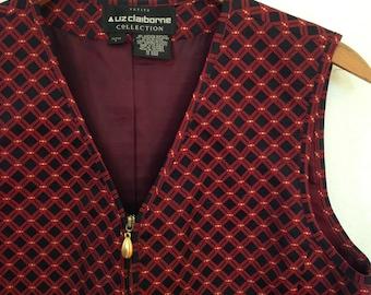 1990s black/red/gold zip front vest by LIZ CLAIBORNE size 6 petite