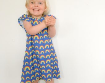 Organic Rainbow Dress, Baby T Shirt, Toddler Summer Dress, Baby Toddler Apparel, Birthday Gift for Summer baby, Eco friendly fashion