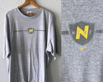 Vintage Nike 1990's 90's Gray and Yellow XXL Nike T Shirt
