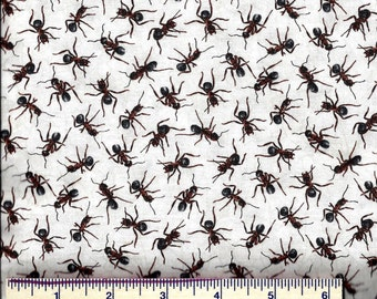 Paintbrush Studios Fabric - You Bug Me! ANTS - Insects - Jar Quilts - Bugs - Picnic - Black and White Quilt Shop Quality Fabric  100% Cotton
