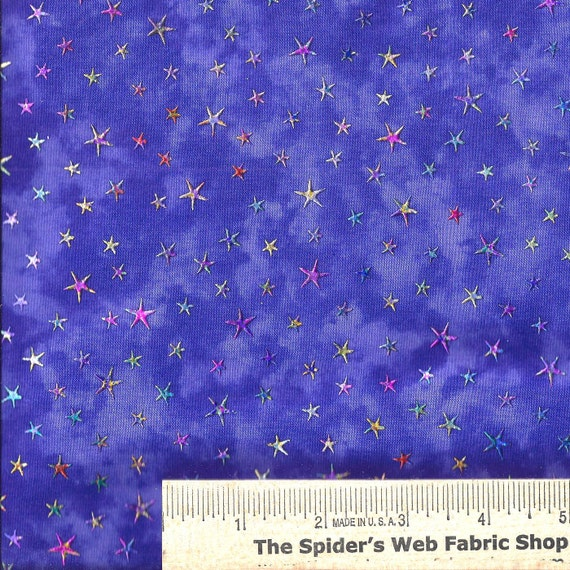 Clearwater fabrics iridescent stars on purple for Celestial fabric by the yard