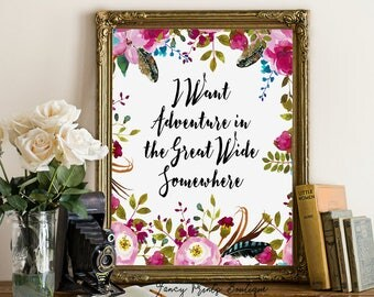 I Want Adventure in the Great Wide Somewhere Printable wall art, Disney Beauty & The Beast Belle Print art , Belle printable Quote