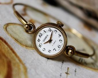 Exclusive Vintage USSR Ladies Bracelet Watch Chaika 17 jewels 1970's -gold plated , Dress watch , Women's Wrist Watch , Gift women , Jewelry