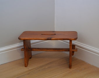 Vintage Wooden Small Low Foot stool