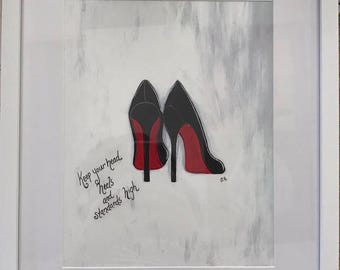 Red Bottom Shoes (Print in frame)
